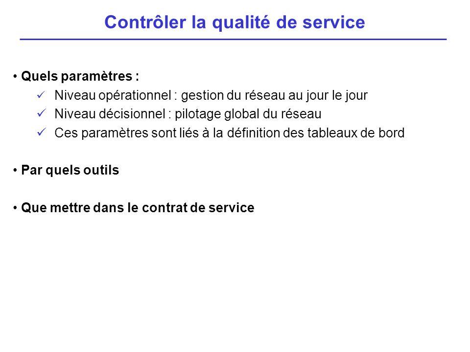 Quels paramètres : Niveau opérationnel : gestion du réseau au jour le jour Niveau décisionnel : pilotage global du réseau Ces paramètres sont liés à l
