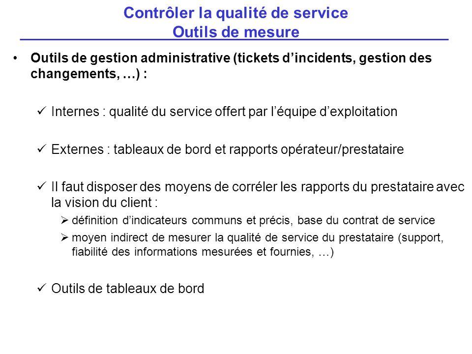 Outils de gestion administrative (tickets dincidents, gestion des changements, …) : Internes : qualité du service offert par léquipe dexploitation Ext