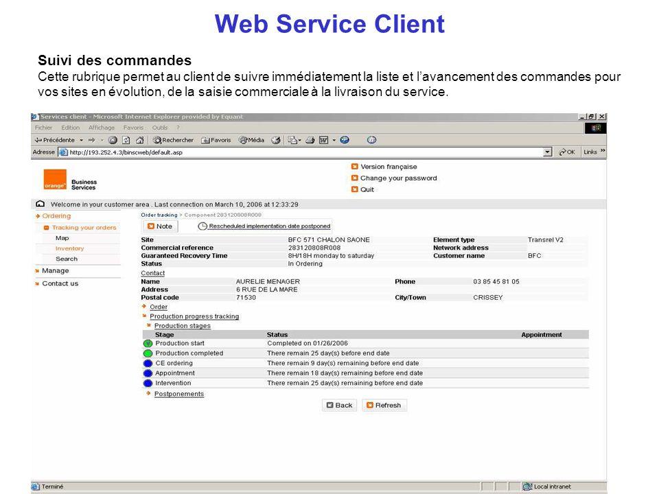 Suivi des commandes Cette rubrique permet au client de suivre immédiatement la liste et lavancement des commandes pour vos sites en évolution, de la s