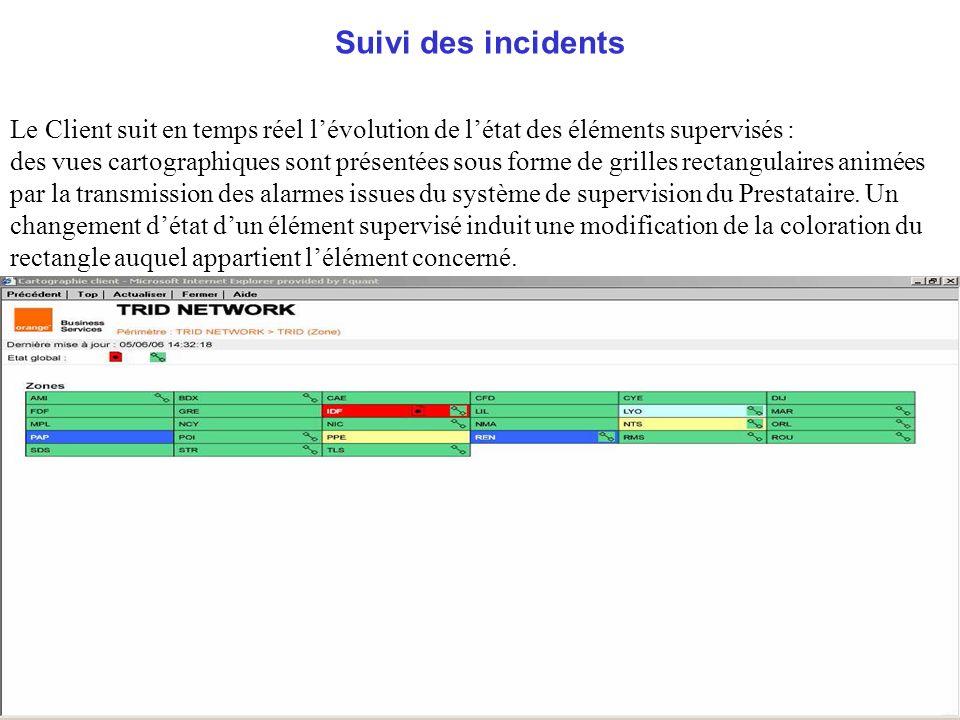 Suivi des incidents Le Client suit en temps réel lévolution de létat des éléments supervisés : des vues cartographiques sont présentées sous forme de