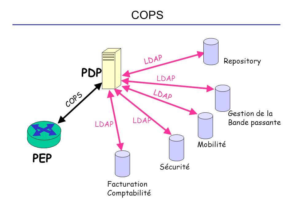 PDP PEP Repository Gestion de la Bande passante Mobilité Sécurité Facturation Comptabilité LDAP COPS
