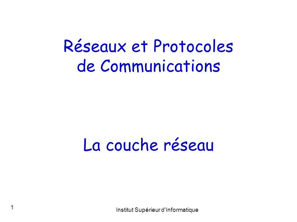 Institut Supérieur d'Informatique 1 Réseaux et Protocoles de Communications La couche réseau