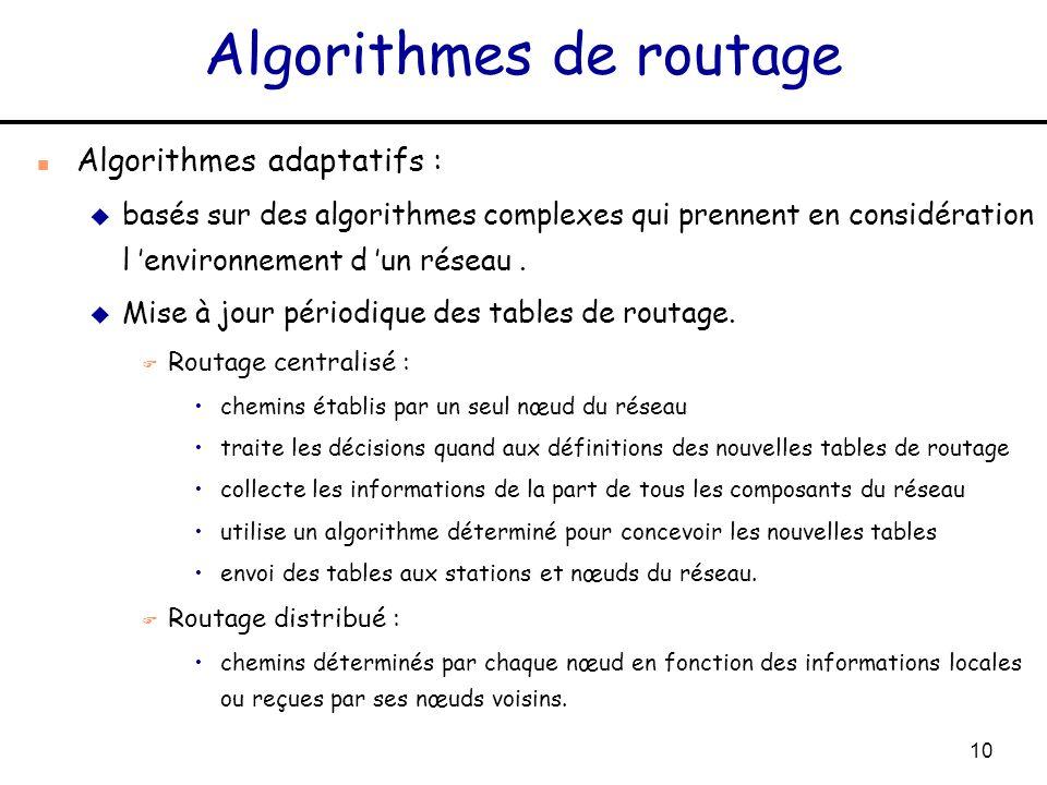 10 Algorithmes de routage n Algorithmes adaptatifs : u basés sur des algorithmes complexes qui prennent en considération l environnement d un réseau.