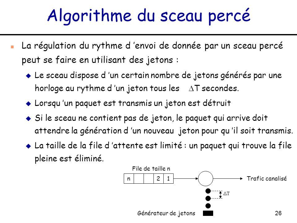 26 Algorithme du sceau percé n La régulation du rythme d envoi de donnée par un sceau percé peut se faire en utilisant des jetons : u Le sceau dispose