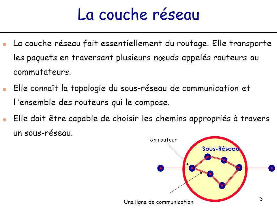 3 La couche réseau n La couche réseau fait essentiellement du routage. Elle transporte les paquets en traversant plusieurs nœuds appelés routeurs ou c