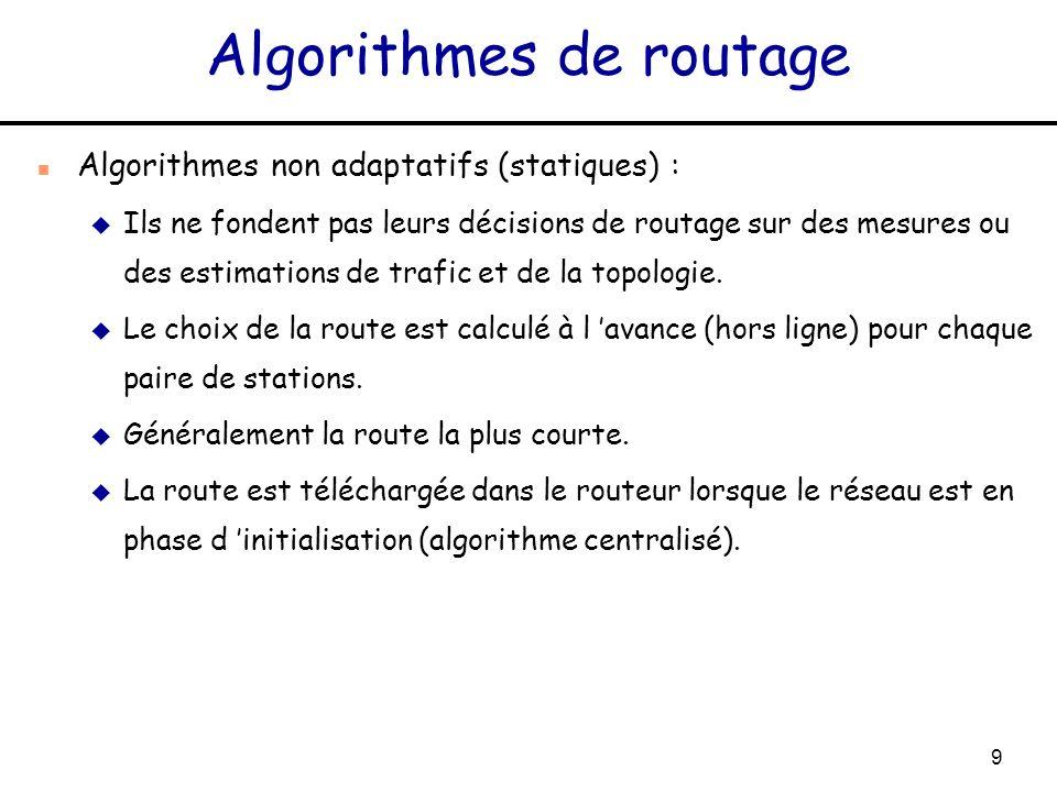 9 Algorithmes de routage n Algorithmes non adaptatifs (statiques) : u Ils ne fondent pas leurs décisions de routage sur des mesures ou des estimations