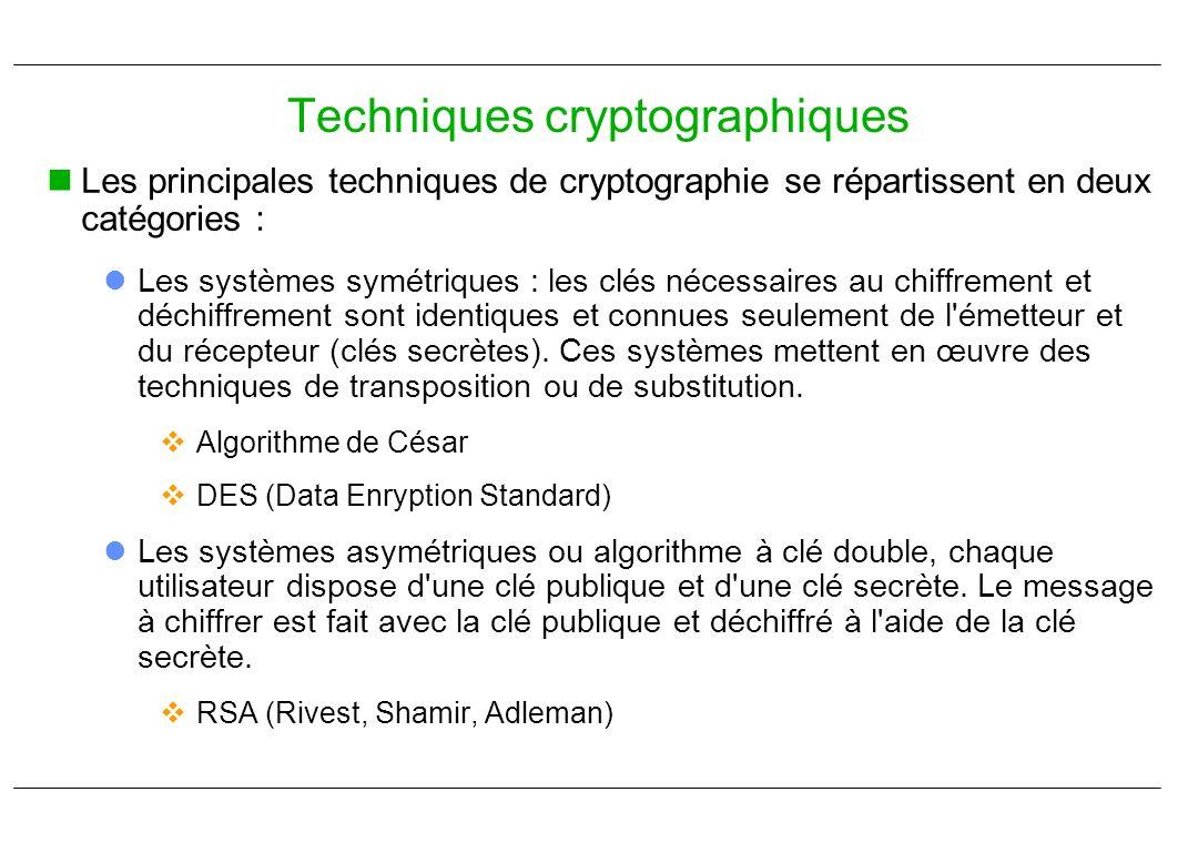 Les principales techniques de cryptographie se répartissent en deux catégories : Les systèmes symétriques : les clés nécessaires au chiffrement et déc