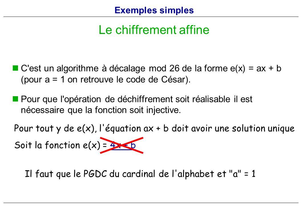 C'est un algorithme à décalage mod 26 de la forme e(x) = ax + b (pour a = 1 on retrouve le code de César). Pour que l'opération de déchiffrement soit