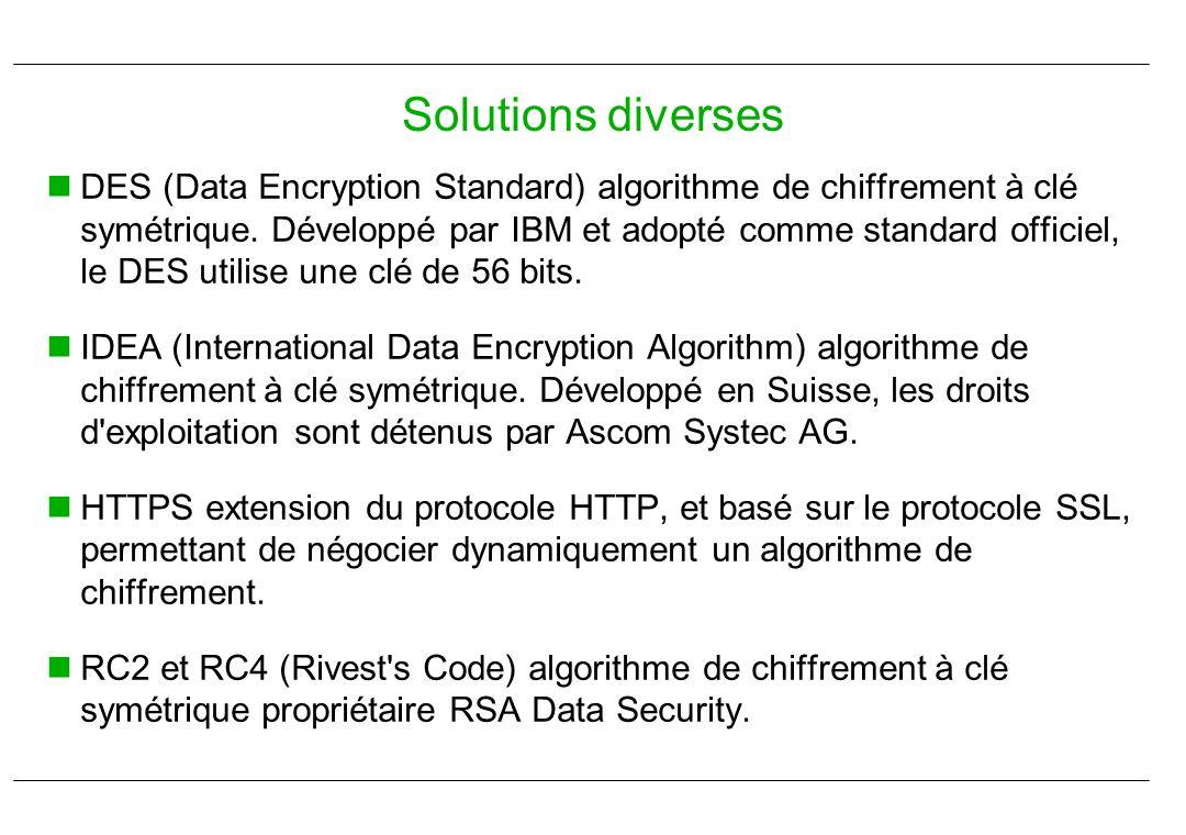 DES (Data Encryption Standard) algorithme de chiffrement à clé symétrique. Développé par IBM et adopté comme standard officiel, le DES utilise une clé