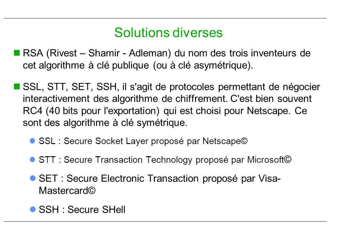 RSA (Rivest – Shamir - Adleman) du nom des trois inventeurs de cet algorithme à clé publique (ou à clé asymétrique). SSL, STT, SET, SSH, il s'agit de