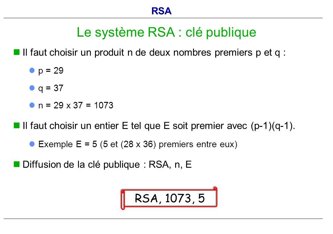 Il faut choisir un produit n de deux nombres premiers p et q : p = 29 q = 37 n = 29 x 37 = 1073 Il faut choisir un entier E tel que E soit premier ave