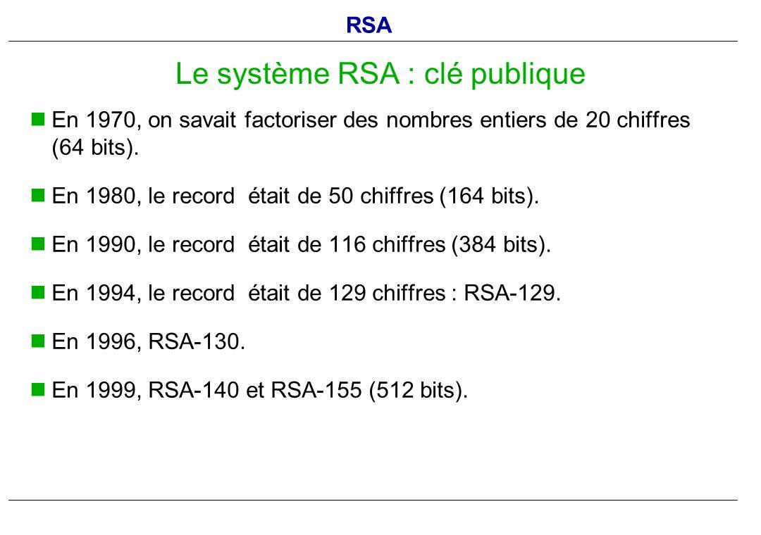 En 1970, on savait factoriser des nombres entiers de 20 chiffres (64.bits). En 1980, le record était de 50 chiffres (164.bits). En 1990, le record éta