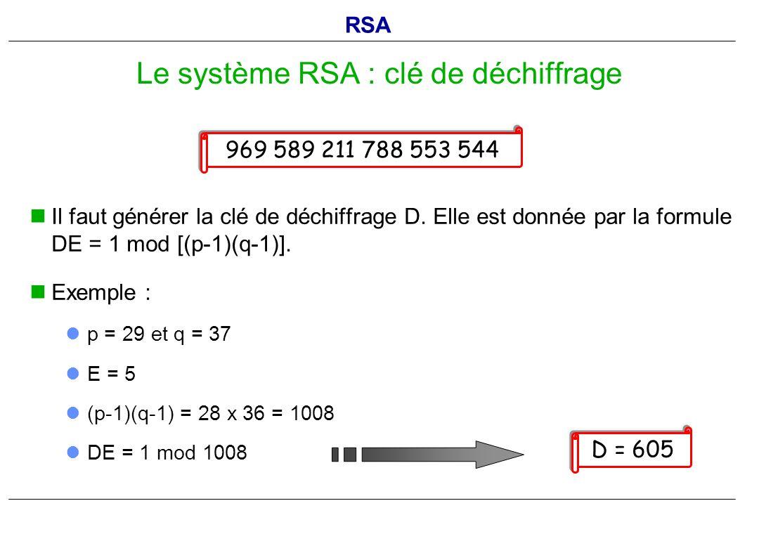 Il faut générer la clé de déchiffrage D. Elle est donnée par la formule DE = 1 mod [(p-1)(q-1)]. Exemple : p = 29 et q = 37 E = 5 (p-1)(q-1) = 28 x 36