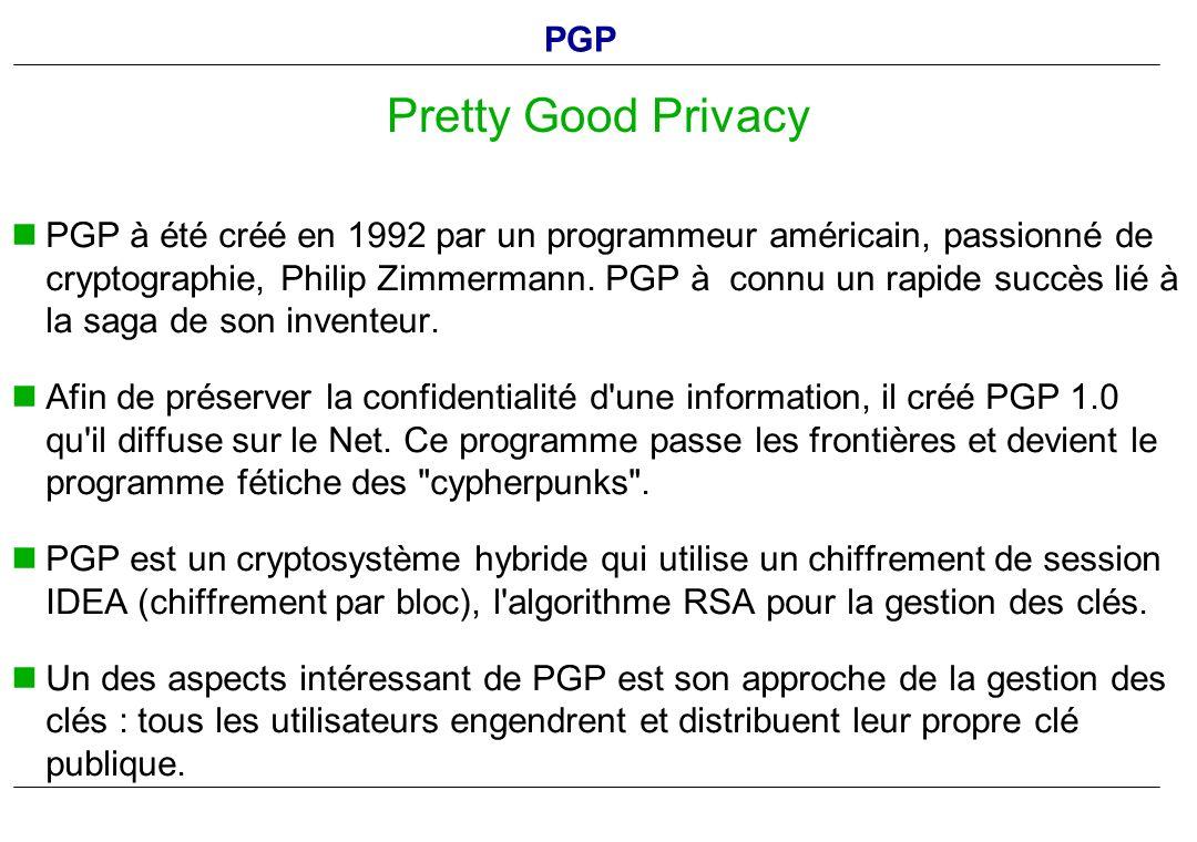 PGP à été créé en 1992 par un programmeur américain, passionné de cryptographie, Philip Zimmermann. PGP à connu un rapide succès lié à la saga de son