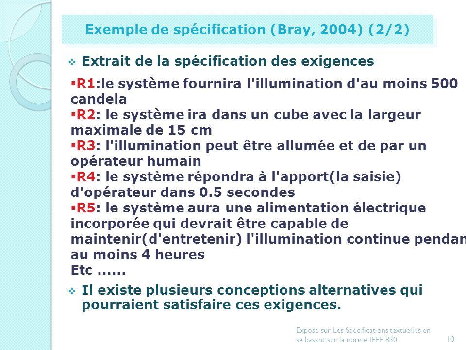 9 Exposé sur Les Spécifications textuelles en se basant sur la norme IEEE 830 Exemple de spécification (Bray, 2004) (1/2) 12 cm Quand le levier d'écha