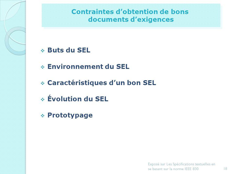 17 Exposé sur Les Spécifications textuelles en se basant sur la norme IEEE 830 Introduction Document de spécification dexigences Exemple de spécificat