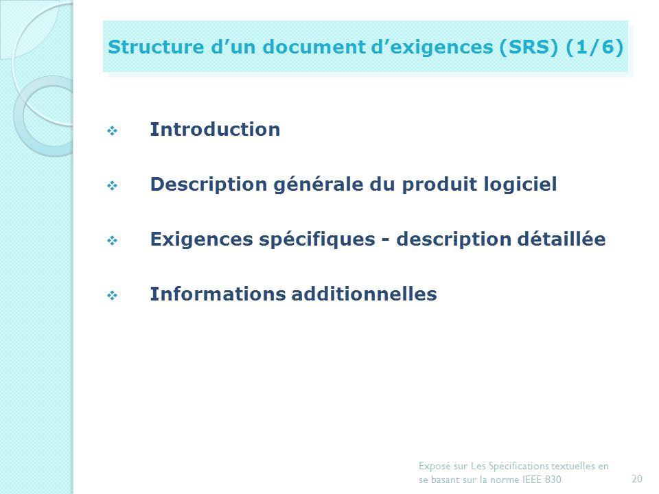 19 Exposé sur Les Spécifications textuelles en se basant sur la norme IEEE 830 Introduction Document de spécification dexigences Exemple de spécificat