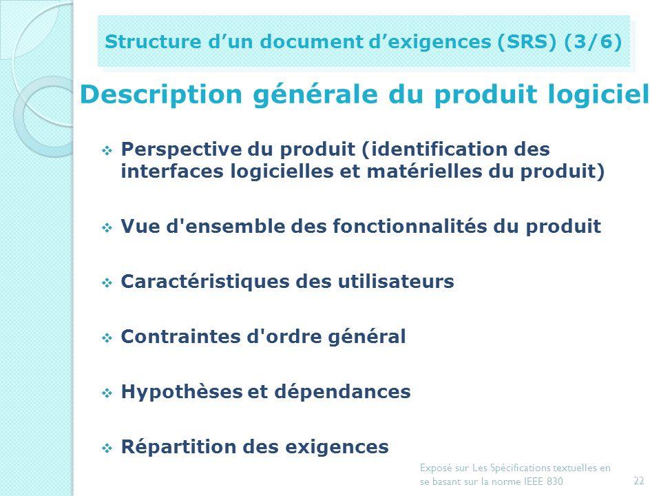 introduction Vue d'ensemble de tout le document des exigences Objectif du document (but et public) Portée du produit logiciel (identification, explica