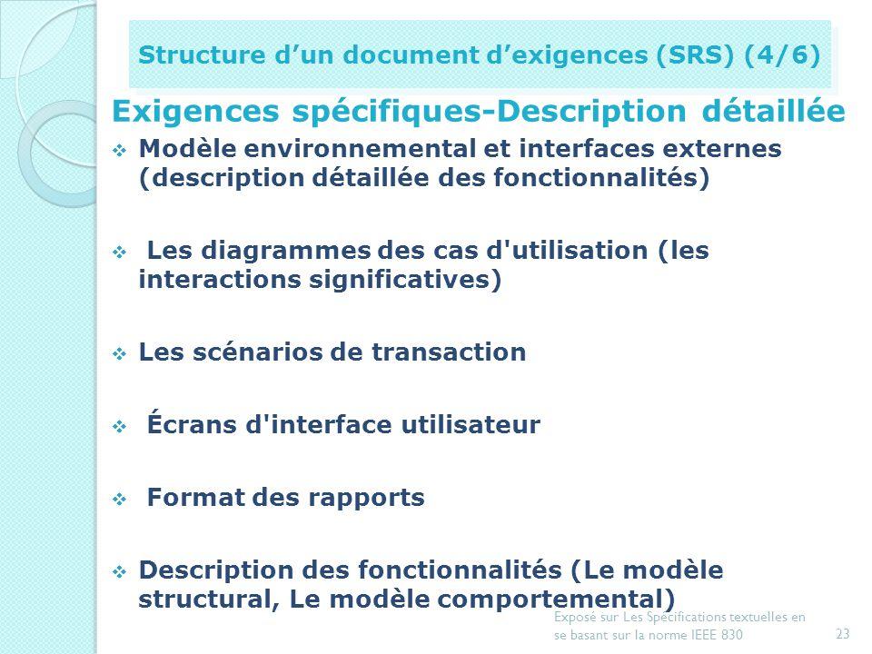 Description générale du produit logiciel Perspective du produit (identification des interfaces logicielles et matérielles du produit) Vue d'ensemble d