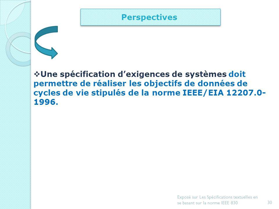 29 Exposé sur Les Spécifications textuelles en se basant sur la norme IEEE 830 Introduction Document de spécification dexigences Exemple de spécificat