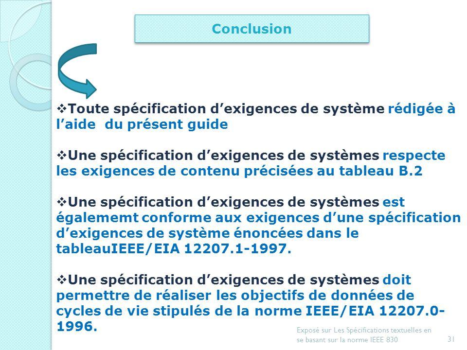 30 Exposé sur Les Spécifications textuelles en se basant sur la norme IEEE 830 Perspectives Une spécification dexigences de systèmes doit permettre de