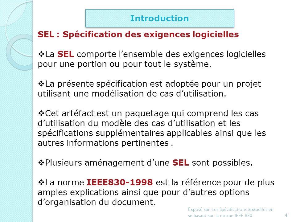 3 Exposé sur Les Spécifications textuelles en se basant sur la norme IEEE 830 Introduction Document de spécification dexigences Exemple de spécificati