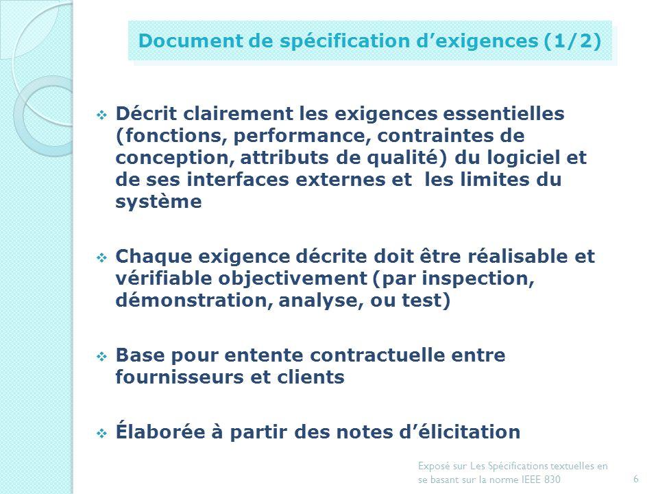 5 Exposé sur Les Spécifications textuelles en se basant sur la norme IEEE 830 Introduction Document de spécification dexigences Exemple de spécificati