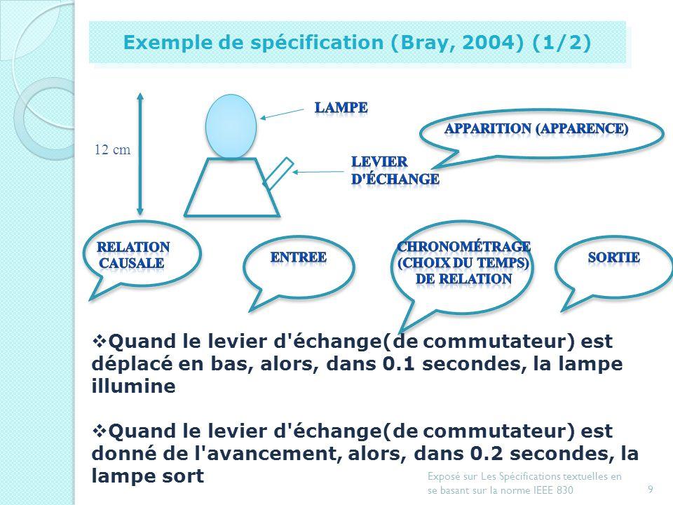 8 Exposé sur Les Spécifications textuelles en se basant sur la norme IEEE 830 Introduction Document de spécification dexigences Exemple de spécificati