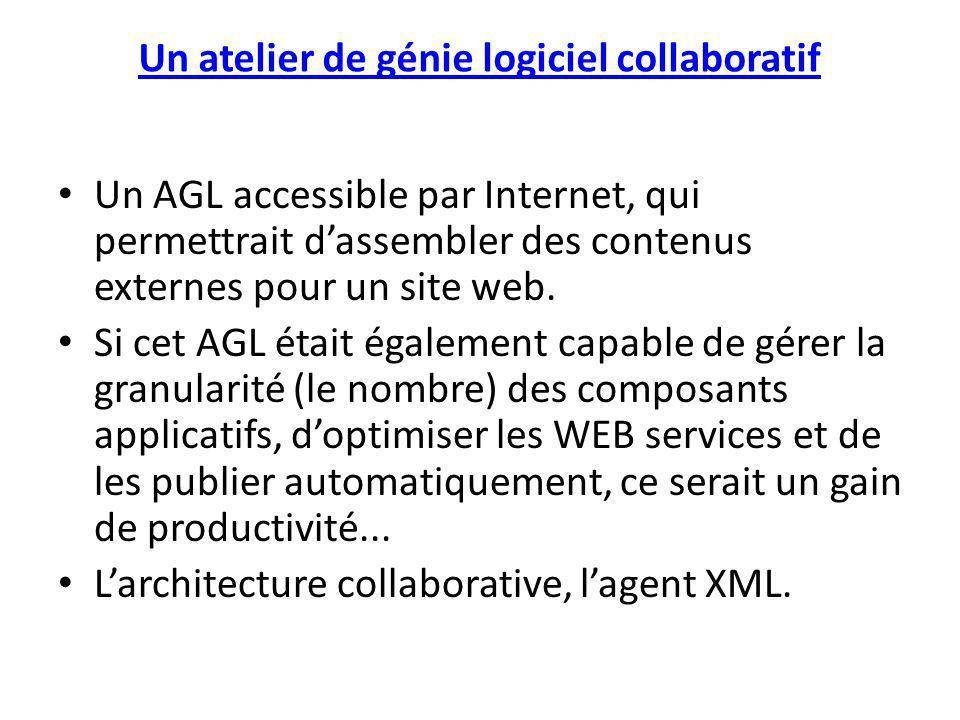 Un atelier de génie logiciel collaboratif Un AGL accessible par Internet, qui permettrait dassembler des contenus externes pour un site web. Si cet AG