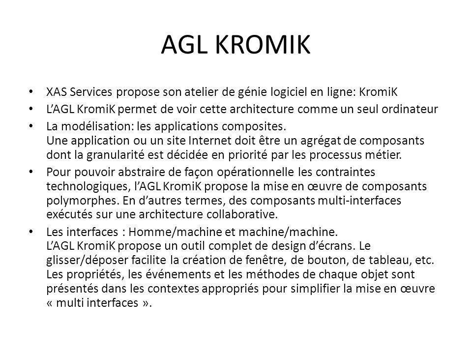 AGL KROMIK XAS Services propose son atelier de génie logiciel en ligne: KromiK LAGL KromiK permet de voir cette architecture comme un seul ordinateur