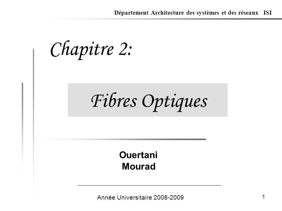 1 Fibres Optiques Chapitre 2: Année Universitaire 2008-2009 Ouertani Mourad Département Architecture des systèmes et des réseaux ISI