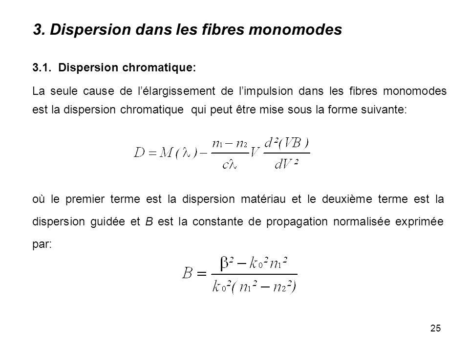25 3.1. Dispersion chromatique: La seule cause de lélargissement de limpulsion dans les fibres monomodes est la dispersion chromatique qui peut être m