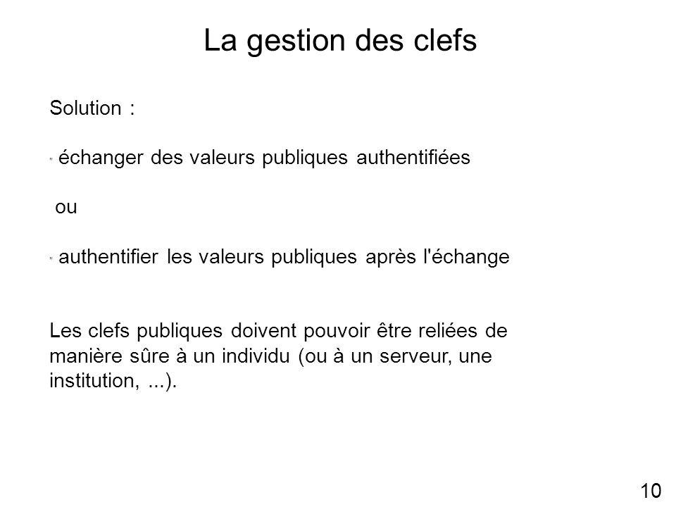 La gestion des clefs 10 Solution : échanger des valeurs publiques authentifiées ou authentifier les valeurs publiques après l échange Les clefs publiques doivent pouvoir être reliées de manière sûre à un individu (ou à un serveur, une institution,...).
