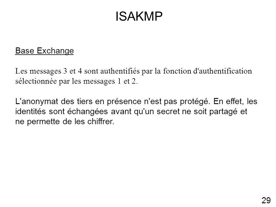 ISAKMP 29 Base Exchange Les messages 3 et 4 sont authentifiés par la fonction d authentification sélectionnée par les messages 1 et 2.
