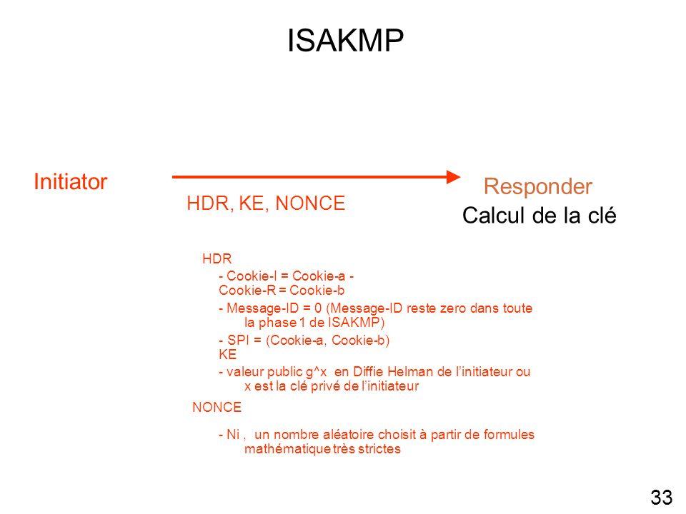 ISAKMP 33 32 Initiator Responder HDR, KE, NONCE Calcul de la clé HDR - Cookie-I = Cookie-a - Cookie-R = Cookie-b - Message-ID = 0 (Message-ID reste zero dans toute la phase 1 de ISAKMP) - SPI = (Cookie-a, Cookie-b) KE - valeur public g^x en Diffie Helman de linitiateur ou x est la clé privé de linitiateur NONCE - Ni, un nombre aléatoire choisit à partir de formules mathématique très strictes 34