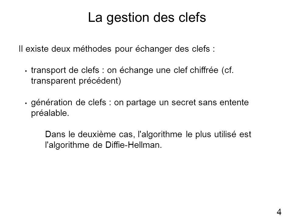 La gestion des clefs 4 Il existe deux méthodes pour échanger des clefs : transport de clefs : on échange une clef chiffrée (cf.