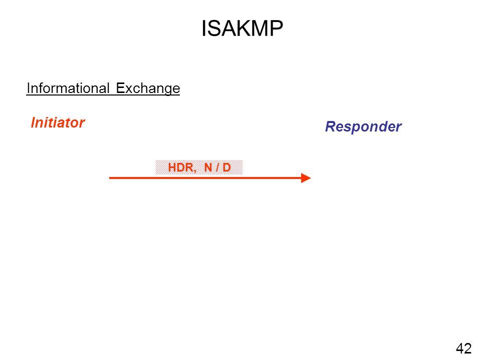 ISAKMP 42 Informational Exchange Initiator Responder HDR, N / D