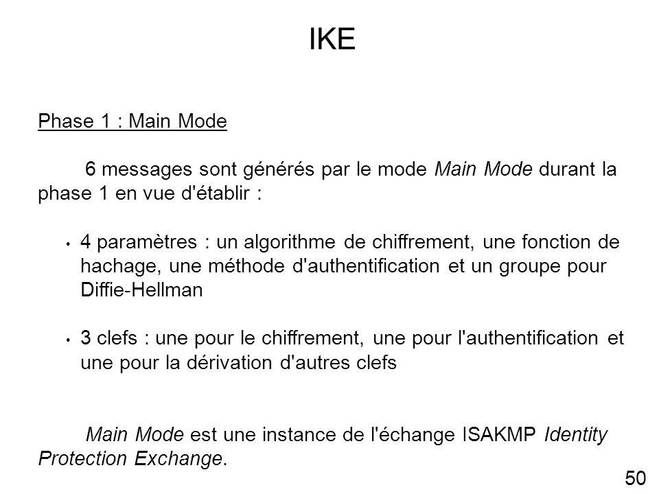 IKE 50 Phase 1 : Main Mode 6 messages sont générés par le mode Main Mode durant la phase 1 en vue d établir : 4 paramètres : un algorithme de chiffrement, une fonction de hachage, une méthode d authentification et un groupe pour Diffie-Hellman 3 clefs : une pour le chiffrement, une pour l authentification et une pour la dérivation d autres clefs Main Mode est une instance de l échange ISAKMP Identity Protection Exchange.