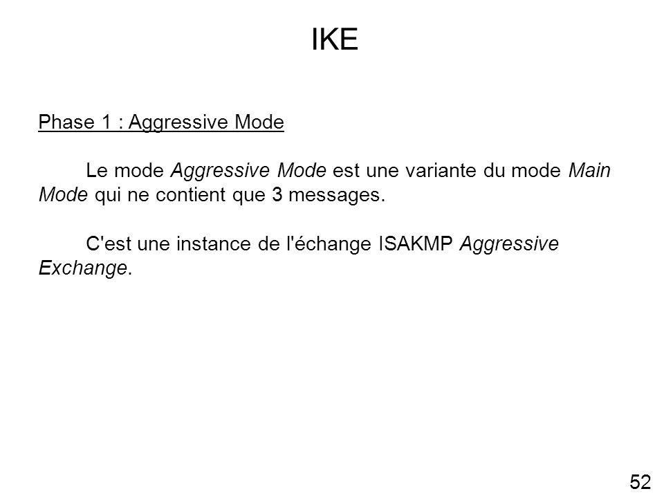 IKE 52 Phase 1 : Aggressive Mode Le mode Aggressive Mode est une variante du mode Main Mode qui ne contient que 3 messages.