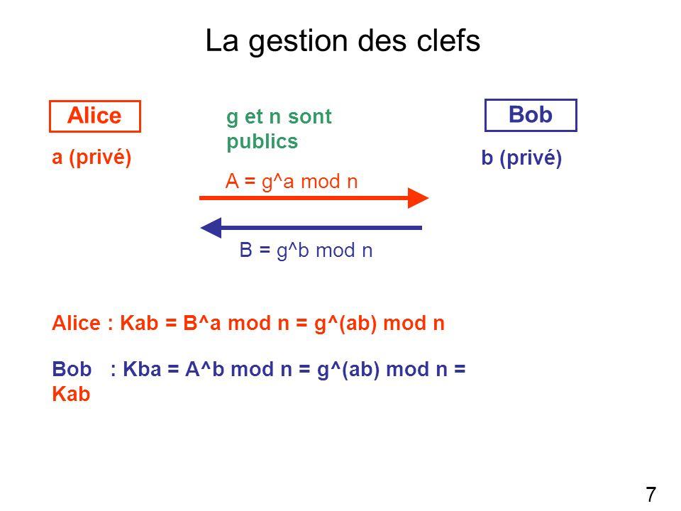 La gestion des clefs 7 Bob Alice a (privé) b (privé) g et n sont publics A = g^a mod n B = g^b mod n Alice : Kab = B^a mod n = g^(ab) mod n Bob : Kba = A^b mod n = g^(ab) mod n = Kab