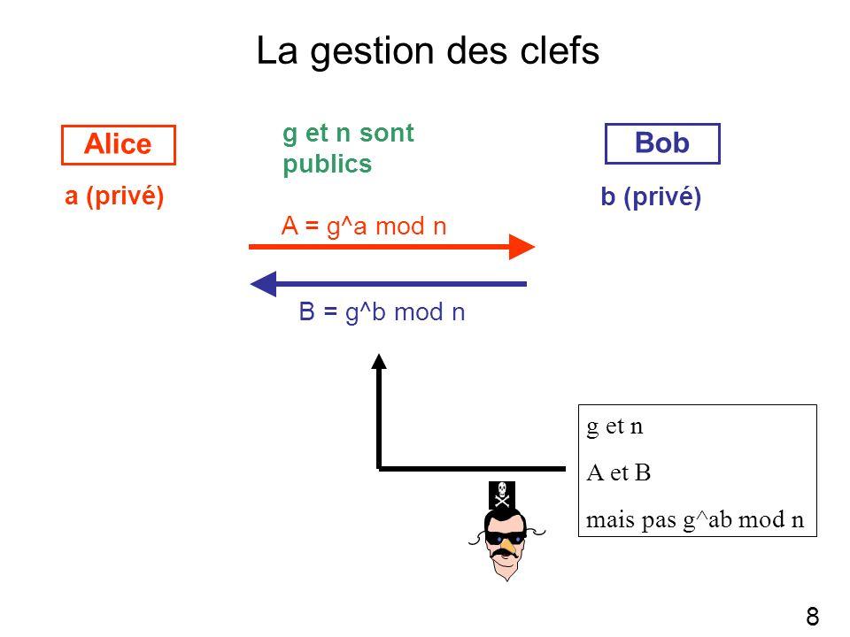 La gestion des clefs 8 Bob Alice a (privé) b (privé) g et n sont publics A = g^a mod n B = g^b mod n g et n A et B mais pas g^ab mod n