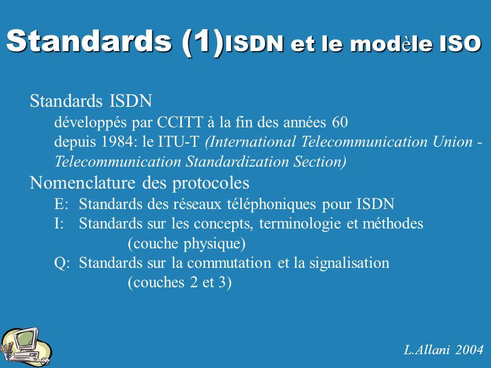 Standards (1) ISDN et le mod è le ISO Standards ISDN développés par CCITT à la fin des années 60 depuis 1984: le ITU-T (International Telecommunicatio