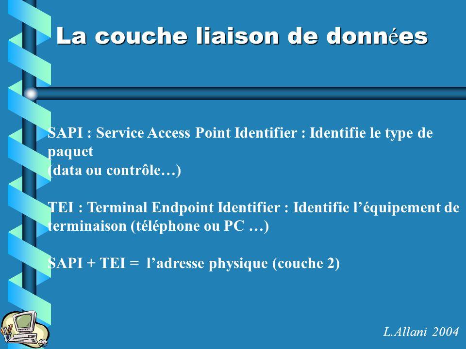 La couche liaison de donn é es SAPI : Service Access Point Identifier : Identifie le type de paquet (data ou contrôle…) TEI : Terminal Endpoint Identi
