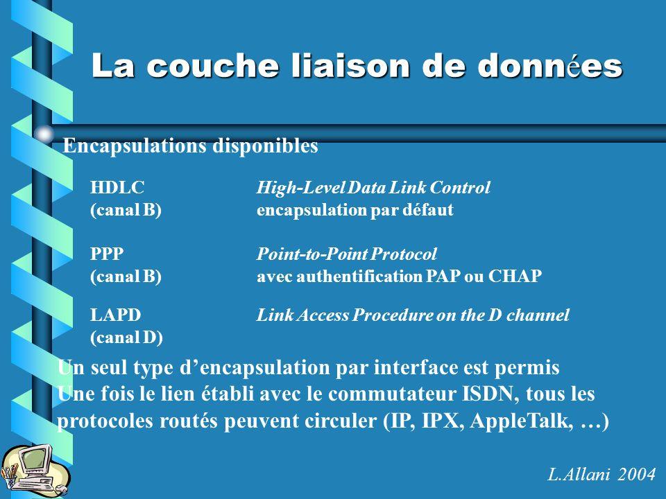 La couche liaison de donn é es Encapsulations disponibles HDLCHigh-Level Data Link Control (canal B)encapsulation par défaut PPPPoint-to-Point Protoco