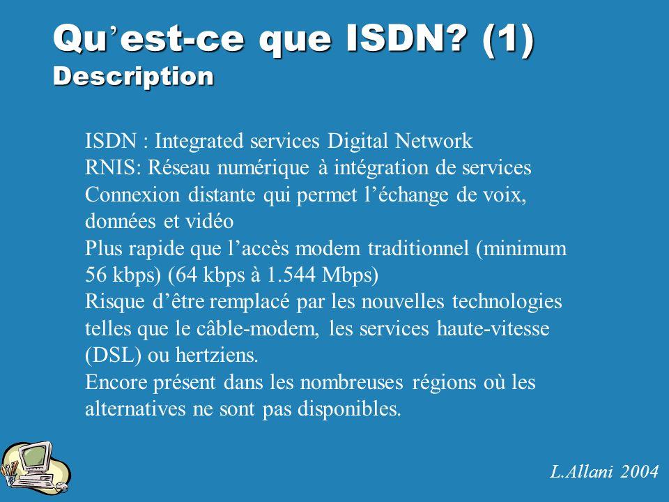 Qu est-ce que ISDN? (1) Description ISDN : Integrated services Digital Network RNIS: Réseau numérique à intégration de services Connexion distante qui