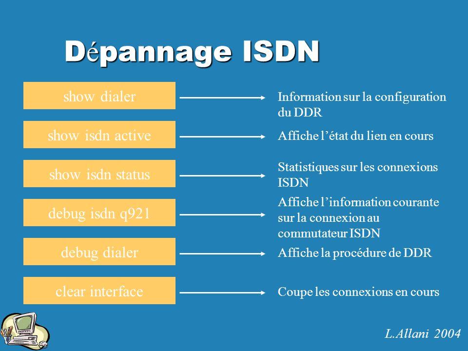D é pannage ISDN show dialer show isdn active show isdn status debug isdn q921 debug dialer clear interface Information sur la configuration du DDR Af