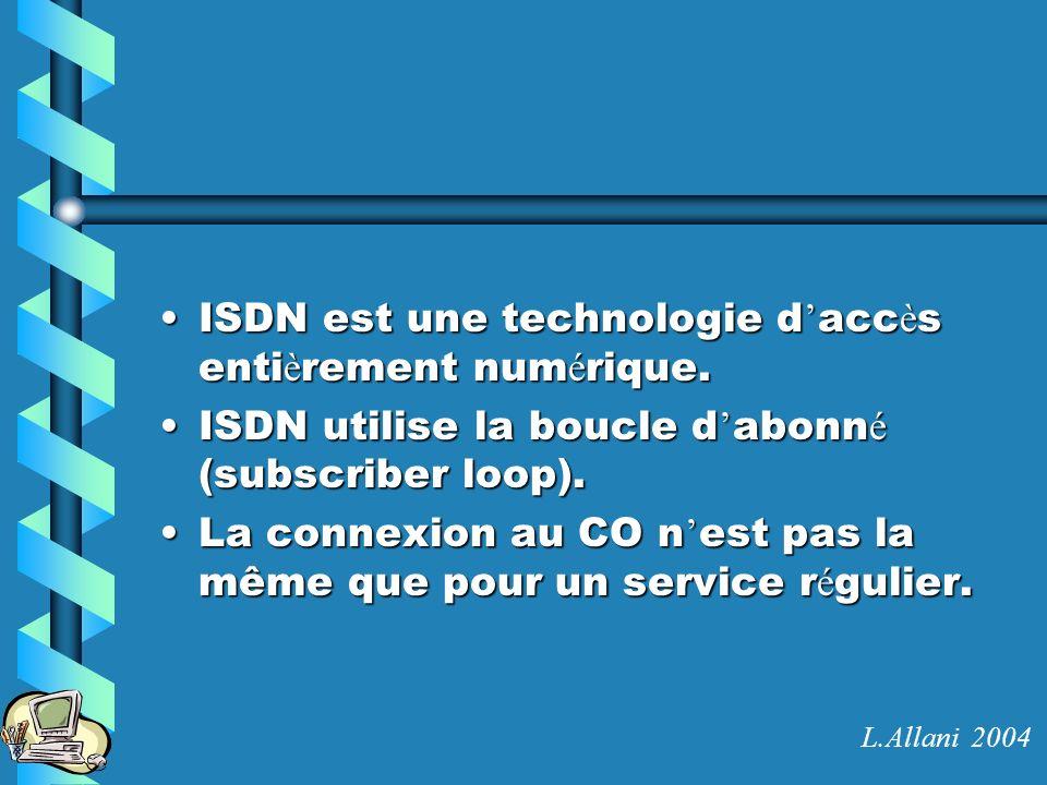 D é pannage ISDN show dialer show isdn active show isdn status debug isdn q921 debug dialer clear interface Information sur la configuration du DDR Affiche létat du lien en cours Statistiques sur les connexions ISDN Affiche linformation courante sur la connexion au commutateur ISDN Affiche la procédure de DDR Coupe les connexions en cours L.Allani 2004