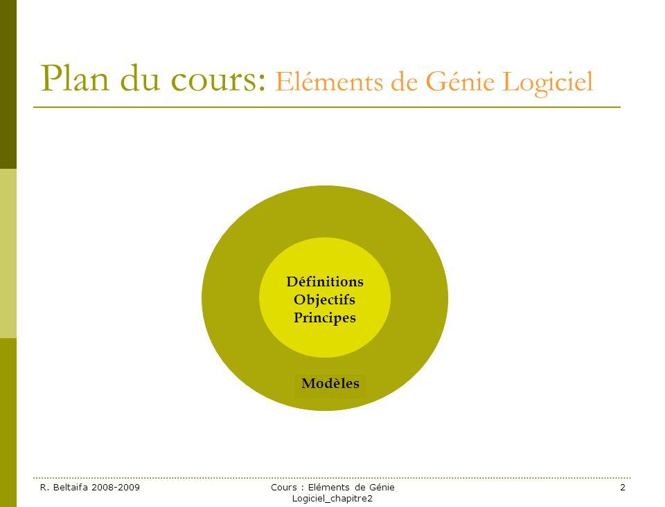 R. Beltaifa 2008-2009Cours : Eléments de Génie Logiciel_chapitre2 2 Plan du cours: Eléments de Génie Logiciel Modèles Définitions Objectifs Principes