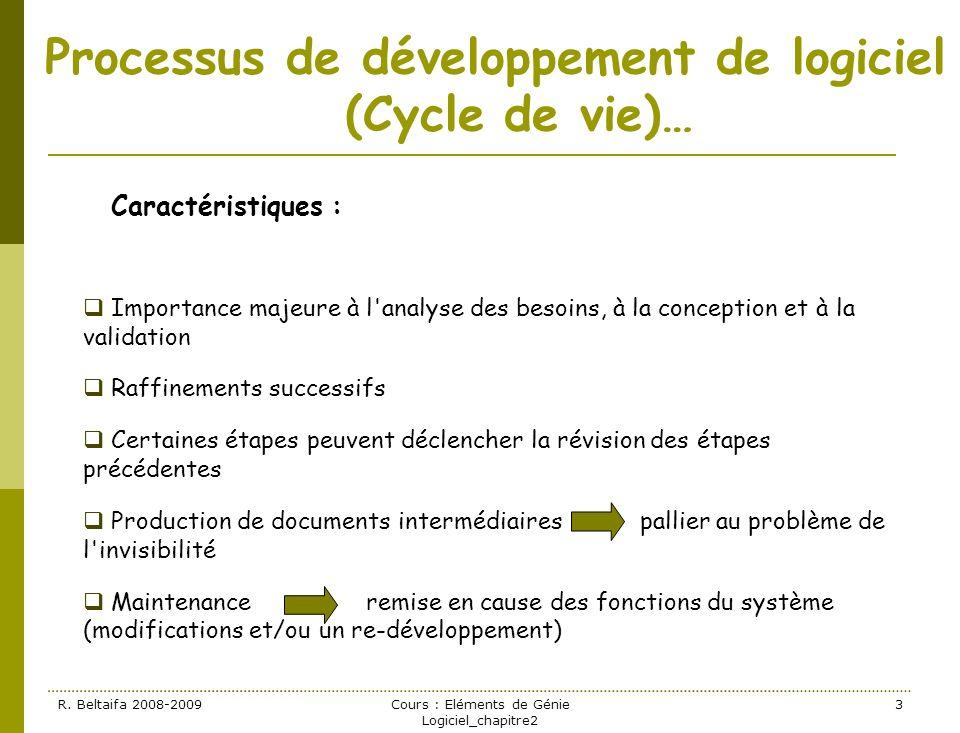 R. Beltaifa 2008-2009Cours : Eléments de Génie Logiciel_chapitre2 3 Processus de développement de logiciel (Cycle de vie)… Caractéristiques : Importan