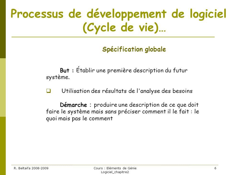 R. Beltaifa 2008-2009Cours : Eléments de Génie Logiciel_chapitre2 6 Processus de développement de logiciel (Cycle de vie)… Spécification globale But :